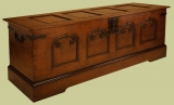 Medieval style oak chest with continental influence
