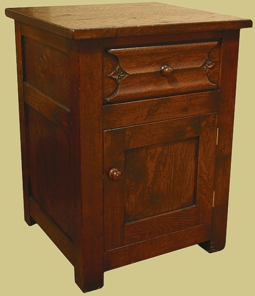 Oak Bedside Cabinet Carved Parchemin