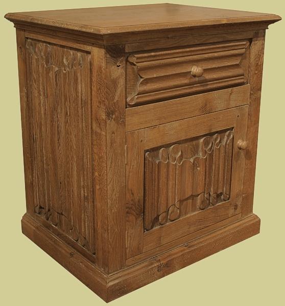Oak Bedside Cupboard Linenfold Carved