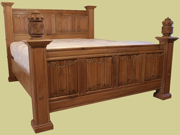 Hand Made Beds ~ Panelled bed in oak early hand carved solid