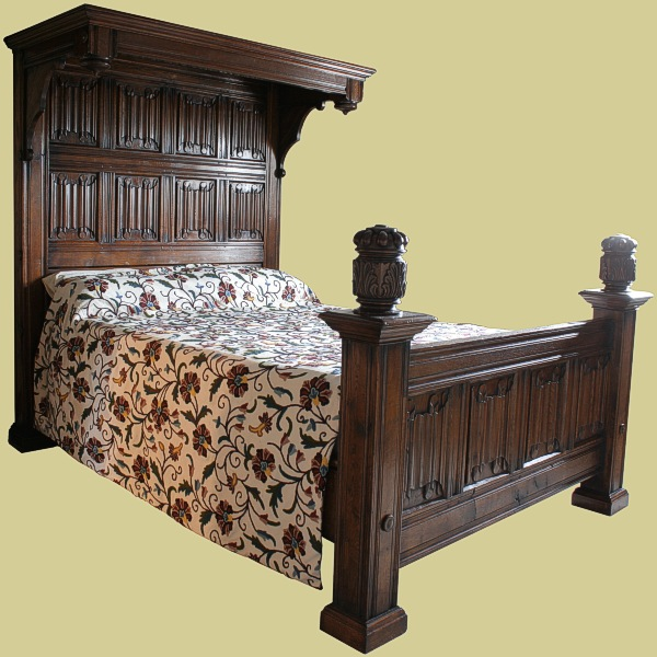 Half Tester Bed In Solid Oak Handmade Carved Bed In