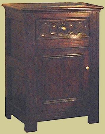 Bedside Cupboard Carved Drawer Oak