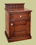 Bedside cabinet oak carved upstand
