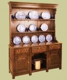 Solid oak 3-drawer high dresser with