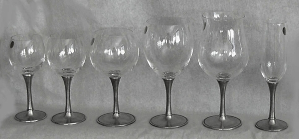 Handmade Italian Pewter Goblets Reproduction Antique