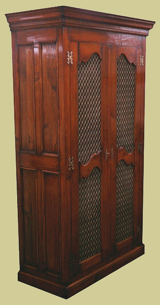 Cherry Wardrobe With Mesh Doors Antique French Style