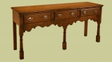 Solid oak C18th style 3 drawer low dresser with open base