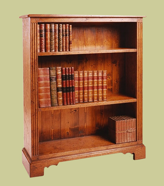 Open Oak Bookcase With 2 Adjustable Height Shelves