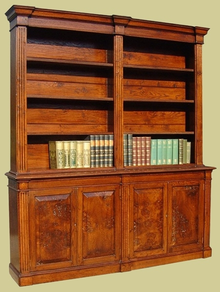 Oak 4-Door Bookcase