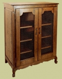French style oak cabinet with mesh panels to the two doors