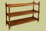 Oak dumb waiter, with three useful shelves and brass casters