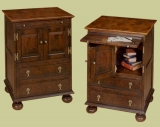 Bedside cabinet with top cupboard