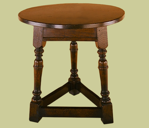 Handmade oak round miniature cricket table.