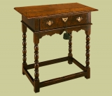 Antique style oak side table with bobbin turnings