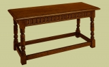 C17th style oak long stool with arcaded carved rails