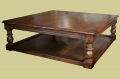 Large square oak coffee table with potboard