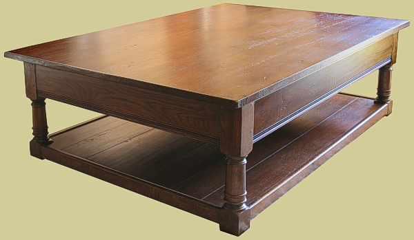 Large Oak Potboard Coffee Table Traditional English Made Reproduction Furniture