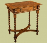 William and Mary style yew wood and cedar side table