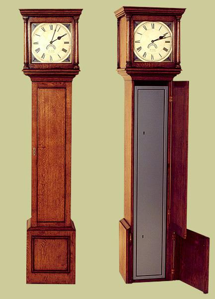 Oak Gun Cabinet Disguised as a Long Case Clock