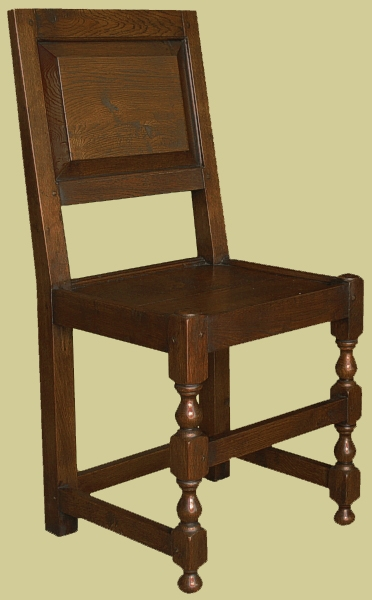 Oak panel back dining chair