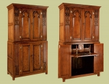 Gothic style bespoke oak home entertainment centre