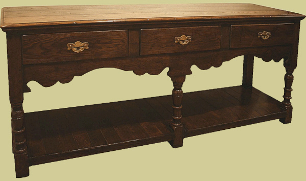 Handmade 17th century style solid oak three drawer potboard dresser.
