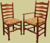 Fruitwood upholstered ladder back chairs