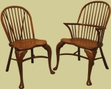 Fruitwood cabriole leg stick back chairs