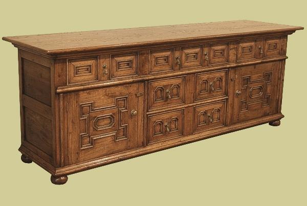 Oak 5 Drawer Dresser Base