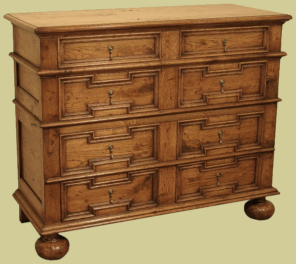 Period style chests of drawers in oak and fruitwood for Reproduction bedroom furniture