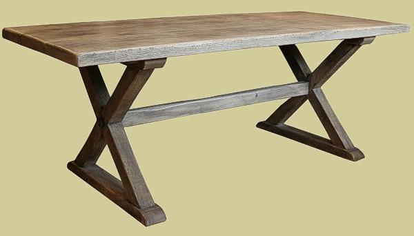 Weathered oak X-leg table