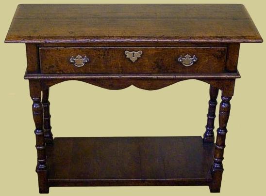 Narrow Oak Side Table with Pot Board