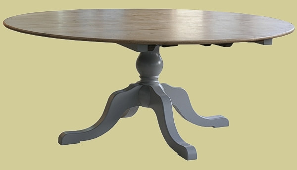 Oak & Painted Extending Pedestal Table
