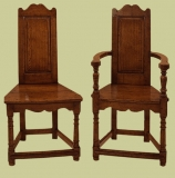 16th century style Caqueteuse oak chairs