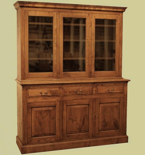 Oak 3-Door Glazed Display Cabinet