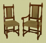 Period style oak upholstered backstools and carvers