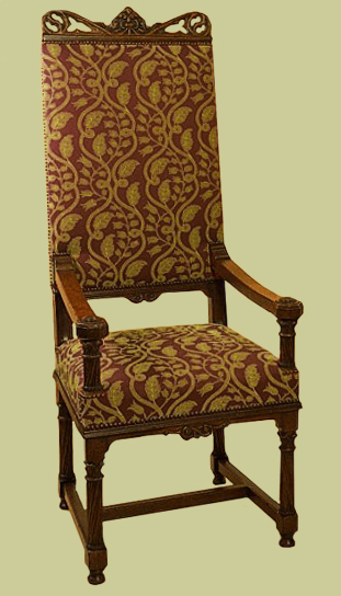 Ornately Carved Throne Type Oak Upholstered Armchair