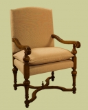 18/19th century style upholstered oak armchair