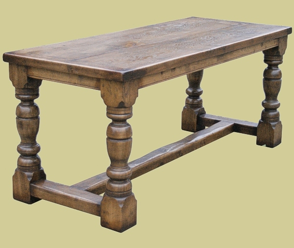 Small heavy oak dining table