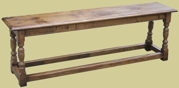 17th Century Style 4-Leg Oak Bench