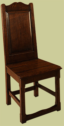 Solid seat side chair.