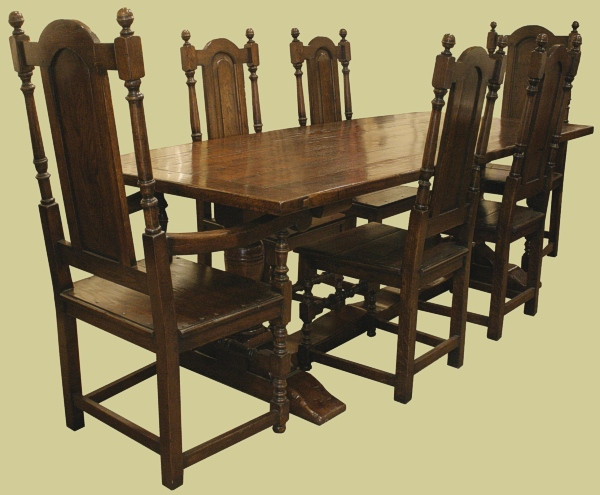 Pedestal Table 6 Solid Seat Chairs