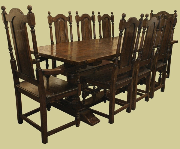 Pedestal Table 8 Solid Seat Chairs