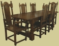 Oak refectory table and dining chairs (Berwick Range)