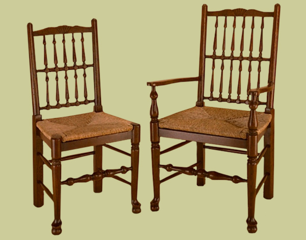 18th century style spindleback country chairs.