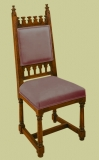 Upholstered Gothic style hand-carved oak side chair