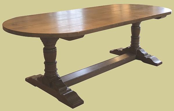 D-end pedestal dining table