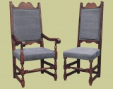 Upholstered high back oak dining chairs