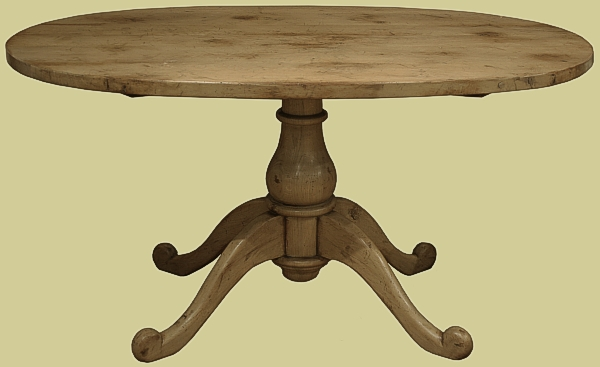 small oval top reproduction dining table on a pedestal base. Black Bedroom Furniture Sets. Home Design Ideas