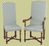 Period style upholstered chairs, with decorative stretchers
